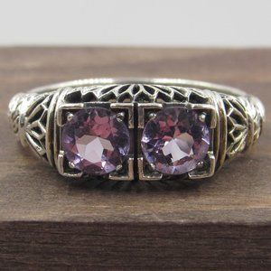 Size 9 Sterling Double Ornate Amethyst Ring